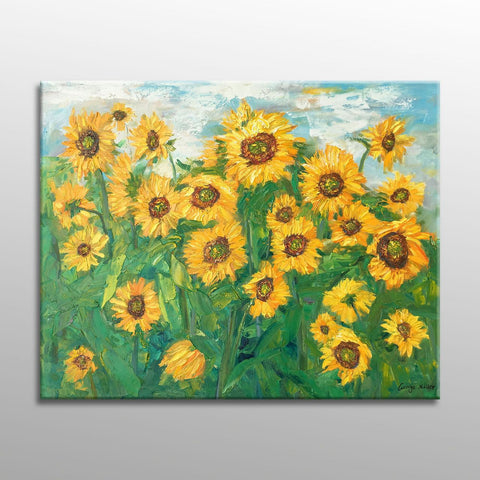 Oil Painting, Sunflowers, Flower Painting, Garden Painting, Large Oil Painting, Still Life Painting, Palette Knife Painting, Art Textured