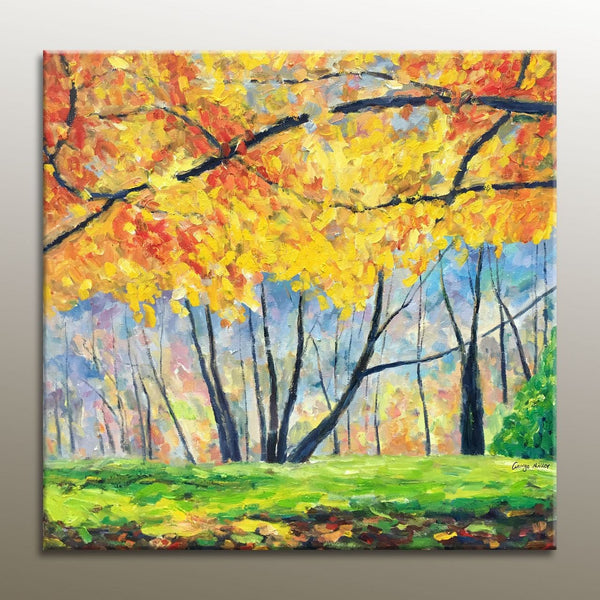Large Abstract Painting, Oil Painting Landscape, Square, Abstract Art, Wall Hanging, Abstract Canvas Painting, Contemporary Painting