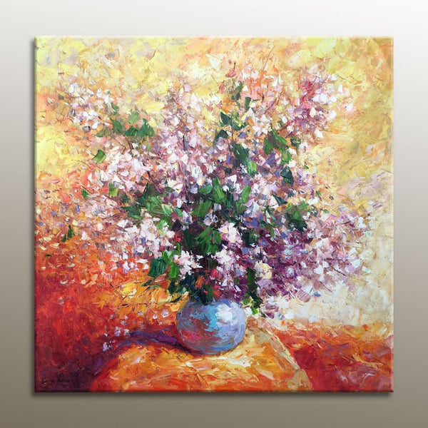 Floral Oil Painting, Canvas Painting, Oil Painting Flowers, Wall Decor, Original Floral Painting, Contemporary Art, Floral Art, Pink, Knife