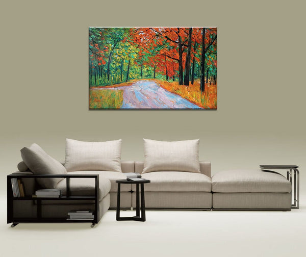 Large Oil Painting, Landscape Painting, Original Abstract Wall Art, Landscape Painting Original, Abstract Canvas Art, Powder Room Wall Decor
