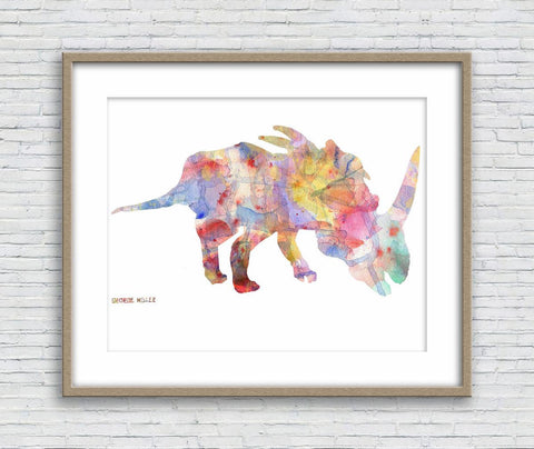 Dinosaur Print Art, Watercolor Print, Wall Art Abstract, Abstract Artwork, Art, Artwork, Modern Wall Art, Original Painting, Dorm Posters