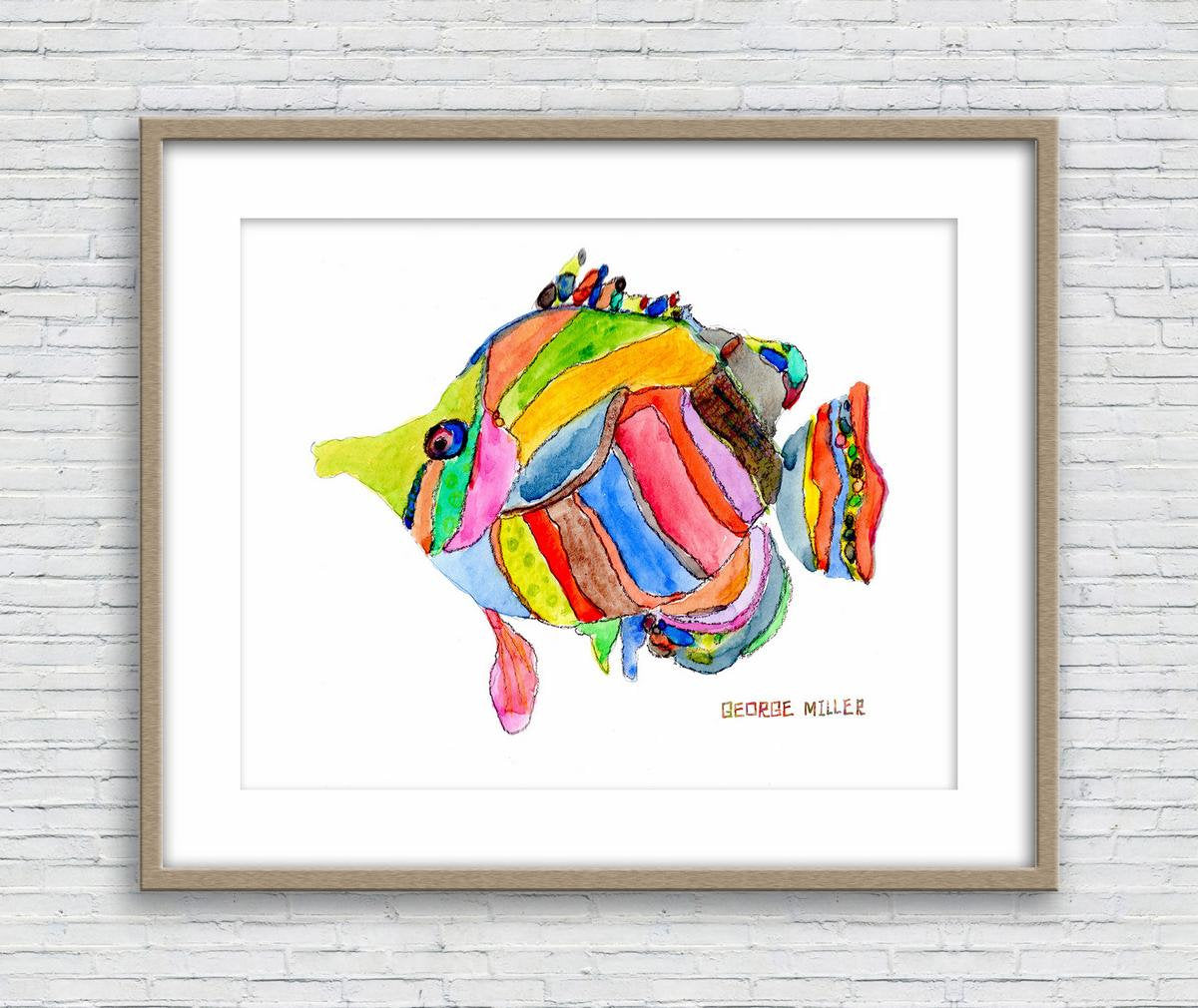 Tropical Fish Watercolor Art, Wall Art Prints, Abstract Print, Art Print Watercolor, Artwork, Modern Wall Decor, Original Art Watercolor