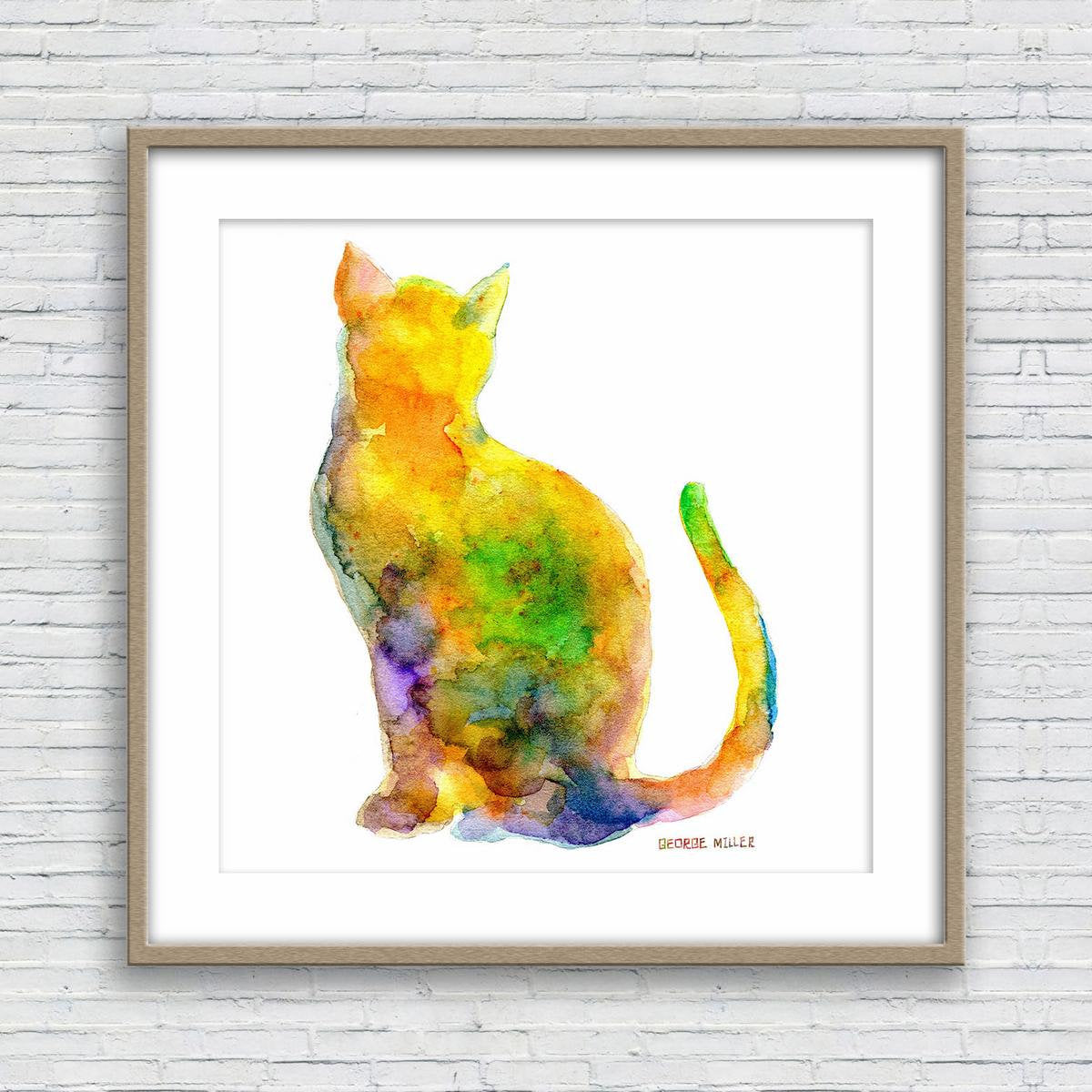 Prints wall art cat watercolor print wall decor dorm abstract print fine art prints artwork modern art original watercolor painting