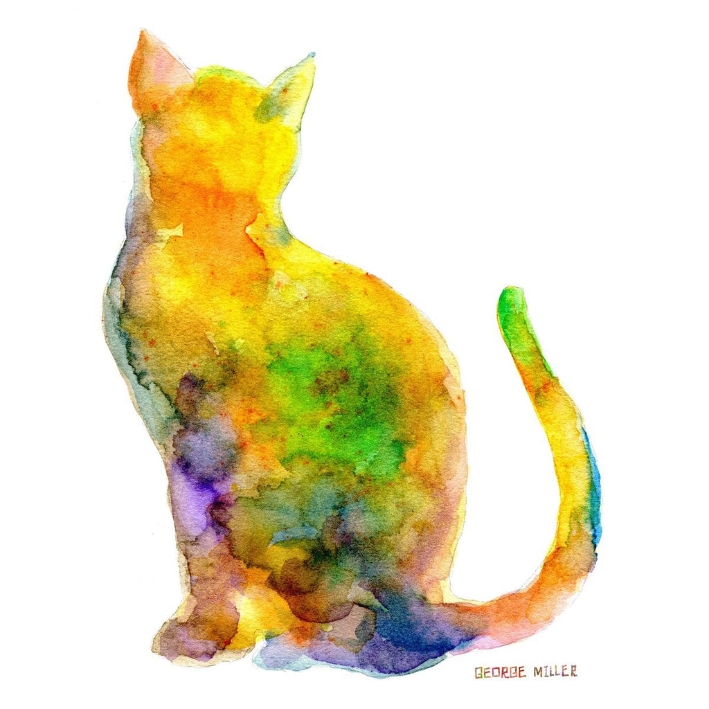 Prints Wall Art, Cat, Watercolor Print, Wall Decor Dorm, Abstract ...
