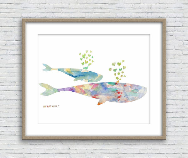 Print Wall Art, Watercolor Print Whales, Wall Decor, Abstract Wall Art, Art Print, Artwork Original, Modern Wall Art, Original Painting