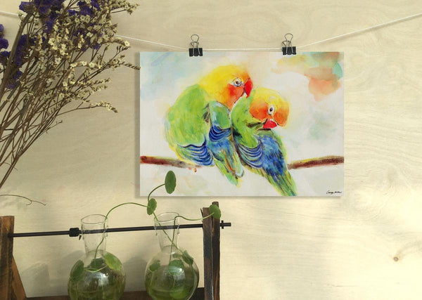 Birds Print, Watercolor Print Parrots, Wall Decor Dorm, Abstract Print, Art, Artwork, Modern Wall Art, Original Watercolor Art