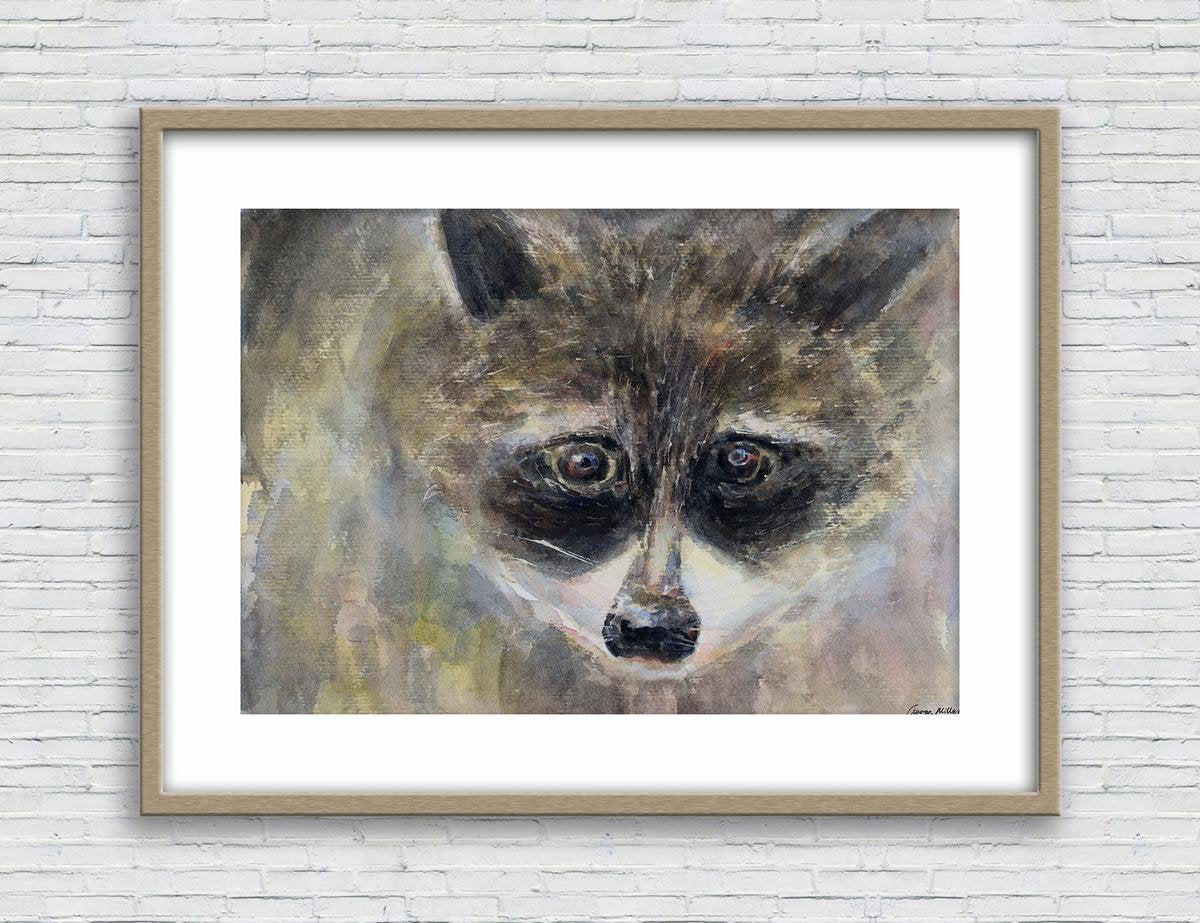 Print, Watercolor Print, Raccoon, Wall Art Prints, Abstract Wall Art Prints, Art Print Watercolor, Artwork, Modern Wall Art, Wildlife Print