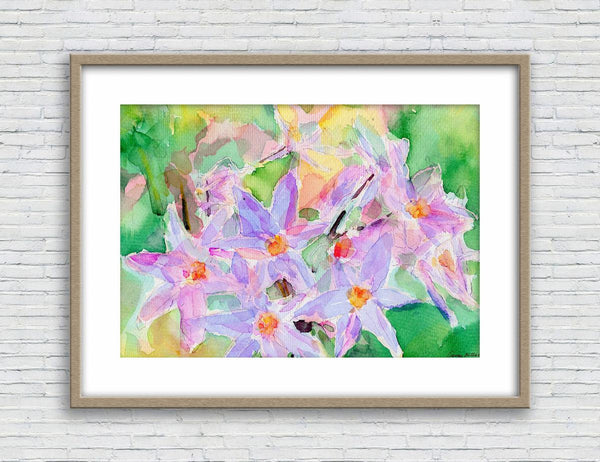 Flower Prints Wall Art, Watercolor Painting Landscape, Wall Decor Bedroom Above Bed, Abstract Wall Art Prints, Art, Artwork Floral Print