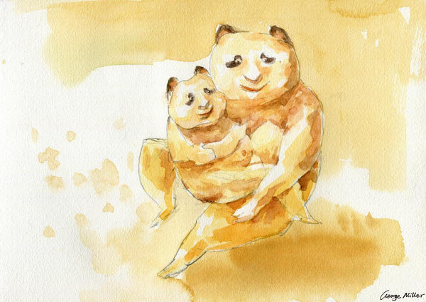 Print Wall Art, Panda Family Mother and Child, Watercolor Print, Wall Art Abstract, Abstract Art, Art Painting, Artwork Original, Modern Art