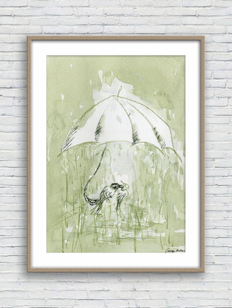 Prints Art, Watercolor Print, Wall Art Prints, Abstract Print, Art, Artwork Original, Modern Art Painting, Original Art, Birds in the Rain