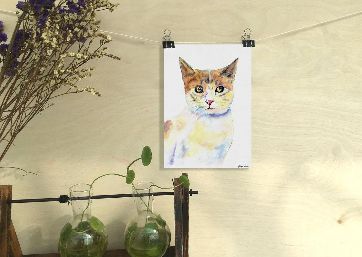 Prints Wall Art Cat, Watercolor Art, Wall Decor Dorm, Abstract Wall Art, Art Print Watercolor, Artwork Original, Modern Art Painting