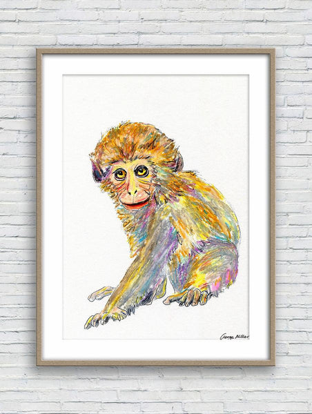 Monkey Print Art, Watercolor Print, Wall Prints, Abstract Art Prints, Art Poster, Artwork, Modern Wall Art, Original Art Wildlife
