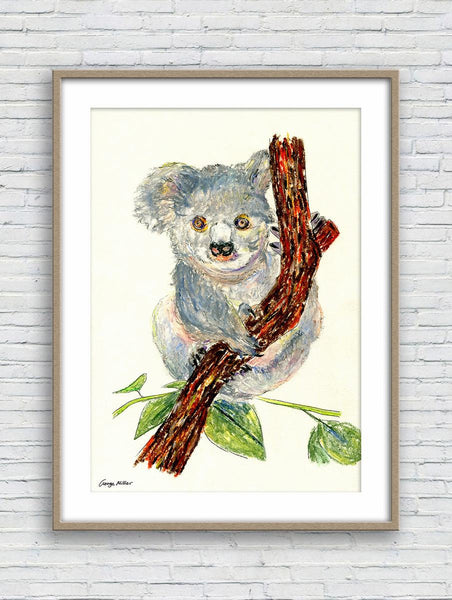Koala Print, Watercolor Print, Wall Prints, Abstract Landscape Painting, Fine Art Prints, Artwork, Kids Room Decor, Original Watercolor Art