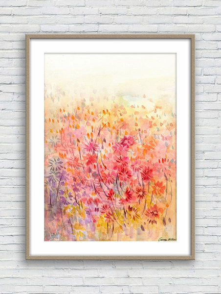 Print, Watercolor Art, Wall Prints, Abstract Watercolor Print, Art Prints Watercolor, Artwork Spring Flowers Field, Floral Art Prints