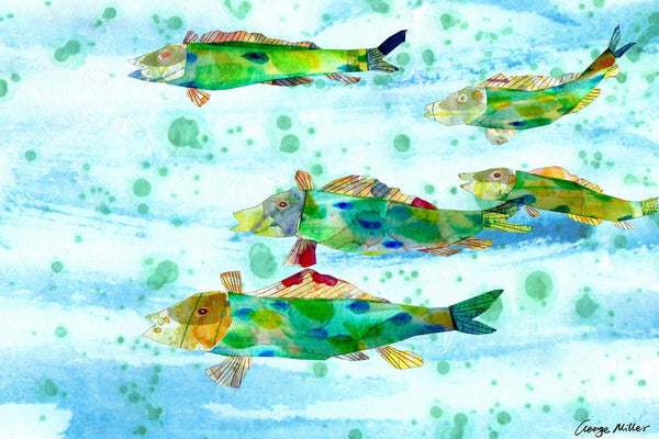 Tropical Fishes Print, Watercolor Art, Wall Decor, Abstract Print, Art Print, Artwork Original, Modern Art, Original Artwork, Kitchen Art