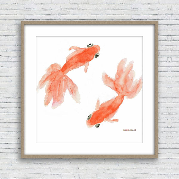 Goldfishes Watercolor Print, Wall Decor, Abstract Art Print, Art Prints Watercolor, Artwork, Modern Art, Original Art Prints, Wedding Gift