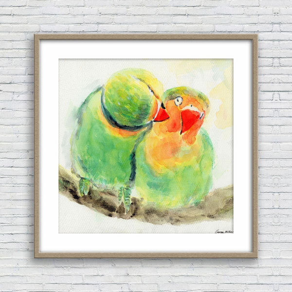 Parrows Birds Print, Print, Watercolor, Wall Decor Dorm, Abstract Artwork, Art Prints Watercolor, Artwork Original, Modern Wall Decor Square