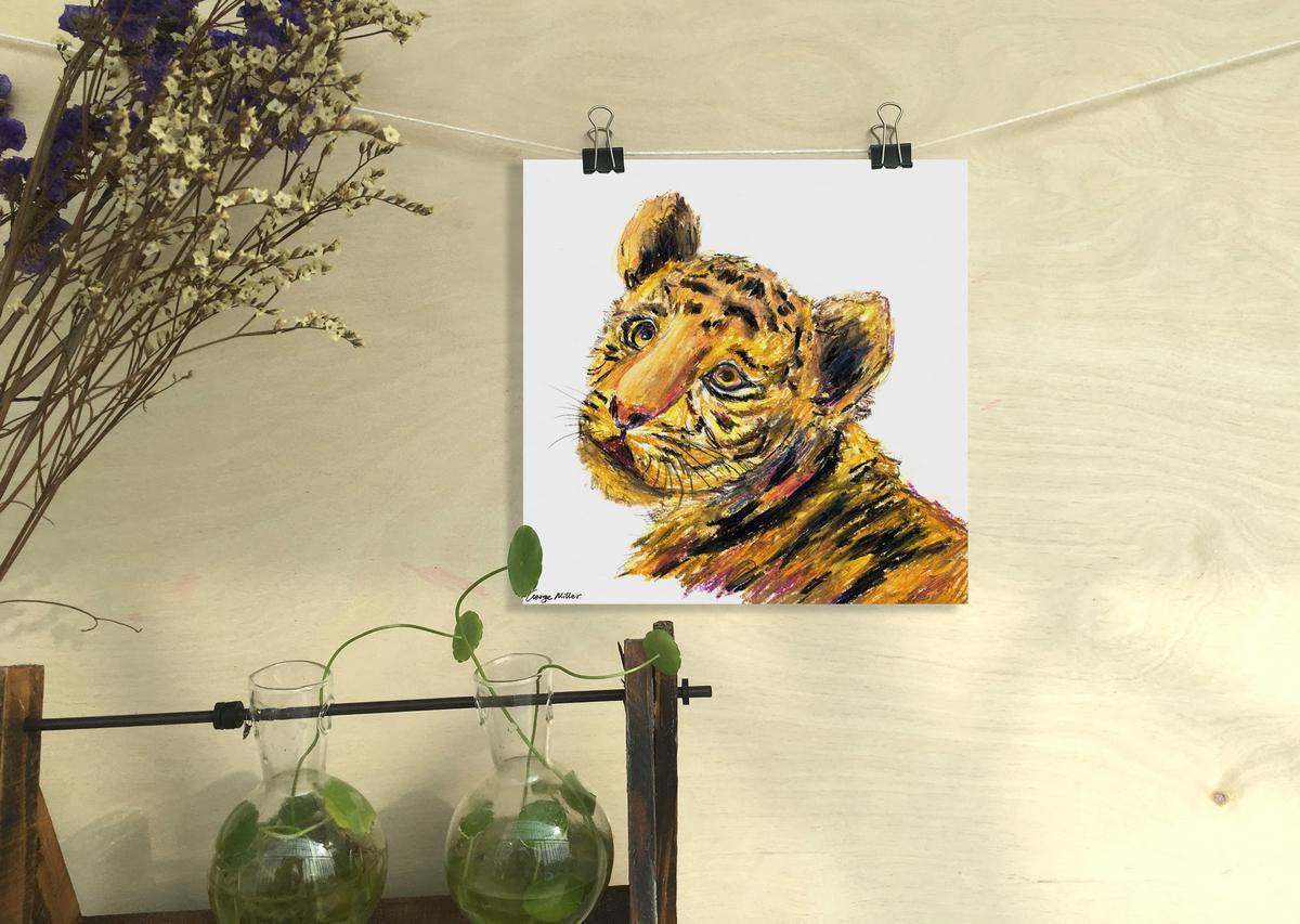 Baby Tiger Prints Wall Art, Watercolor Print, Wall Art Abstract, Abstract Print, Art Print, Artwork Original, Modern Wall Art Square