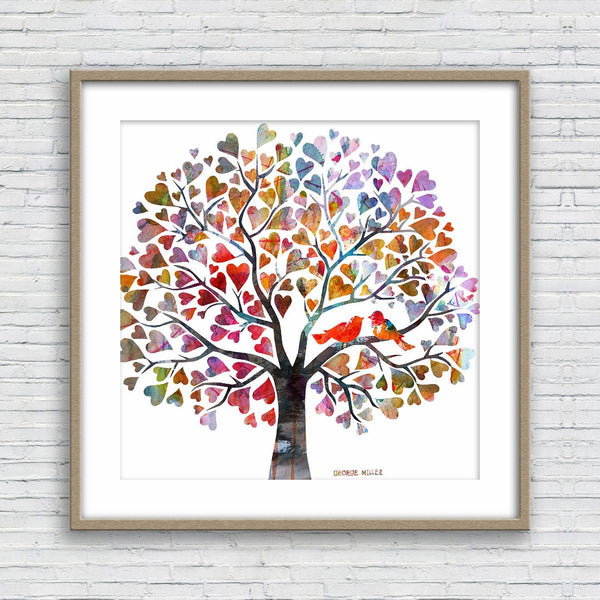 Love Birds Tree Art Watercolor Print, Wall Decor Living Room Rustic, Abstract Watercolor Print, Art Prints, Artwork Original, Modern Art
