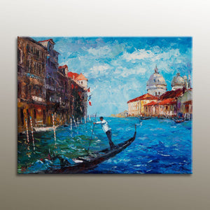 Italian Venice Gondola Oil Painting Seascape, Large Oil Painting, Abstract Canvas Art, Living Room Art, Rustic Decor, Oil Painting Landscape