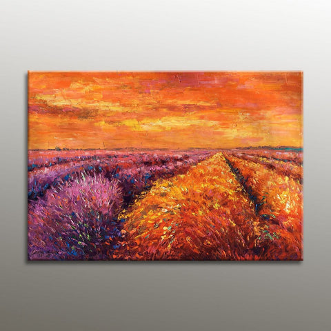 Large Landscape Painting, Oil Painting Provence Lavender Fields, Original Painting, Master Bedroom Decor, Family Wall Decor, Modern Painting