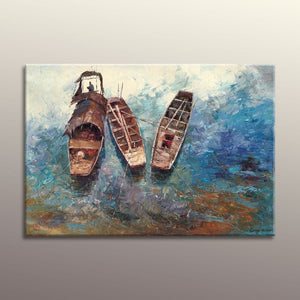 Oil Painting Seascape Fishing Boats, Abstract Wall Art, Original Oil Painting, Modern Painting, Bedroom Wall Decor, Large Art, Canvas Art