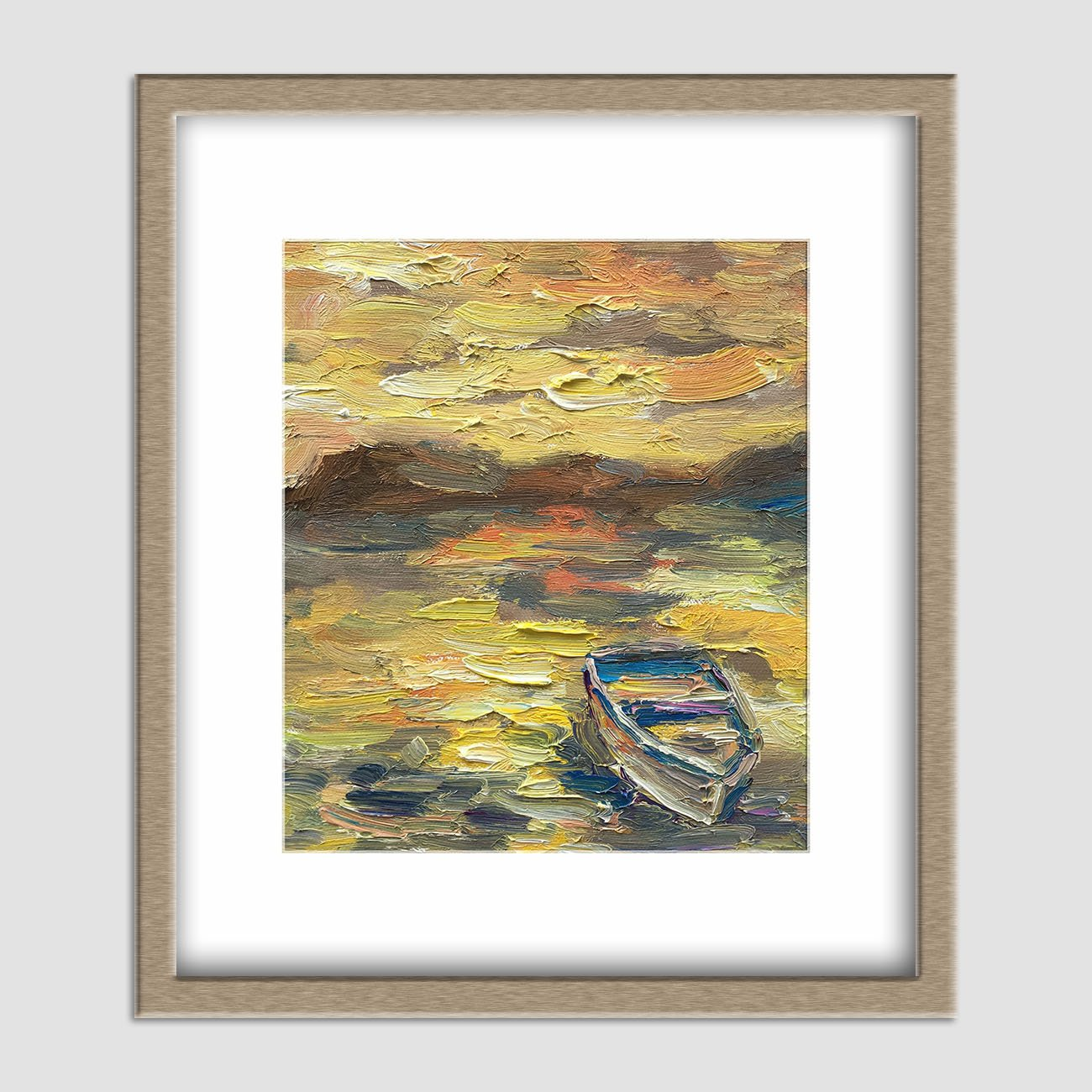 Oil Painting Fishing Boat, Small Canvas Painting, Contemporary Art, Small Metal Wall Art, Canvas Painting, Abstract Landscape Painting
