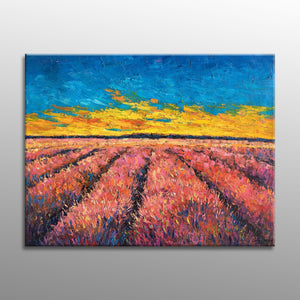 Oil Painting Landscape French Provence Lavender Field, Contemporary Painting, Oil Painting Abstract, Landscape Painting, Large Oil Painting