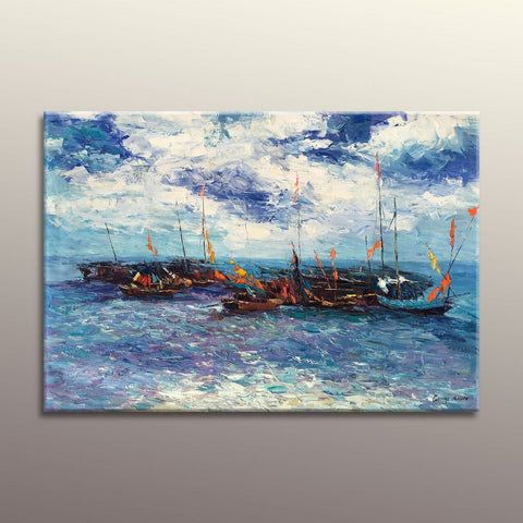 Oil Painting Seascape Fishing Boats, Modern Art, Original Oil Painting Landscape, Original Painting, Abstract Oil Painting, Large Art