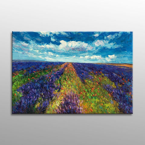 Landscape Painting, Oil Painting, Provence Lavender Fields, Landscape Oil Painting, Original Oil Painting, Canvas Art, Painting Abstract