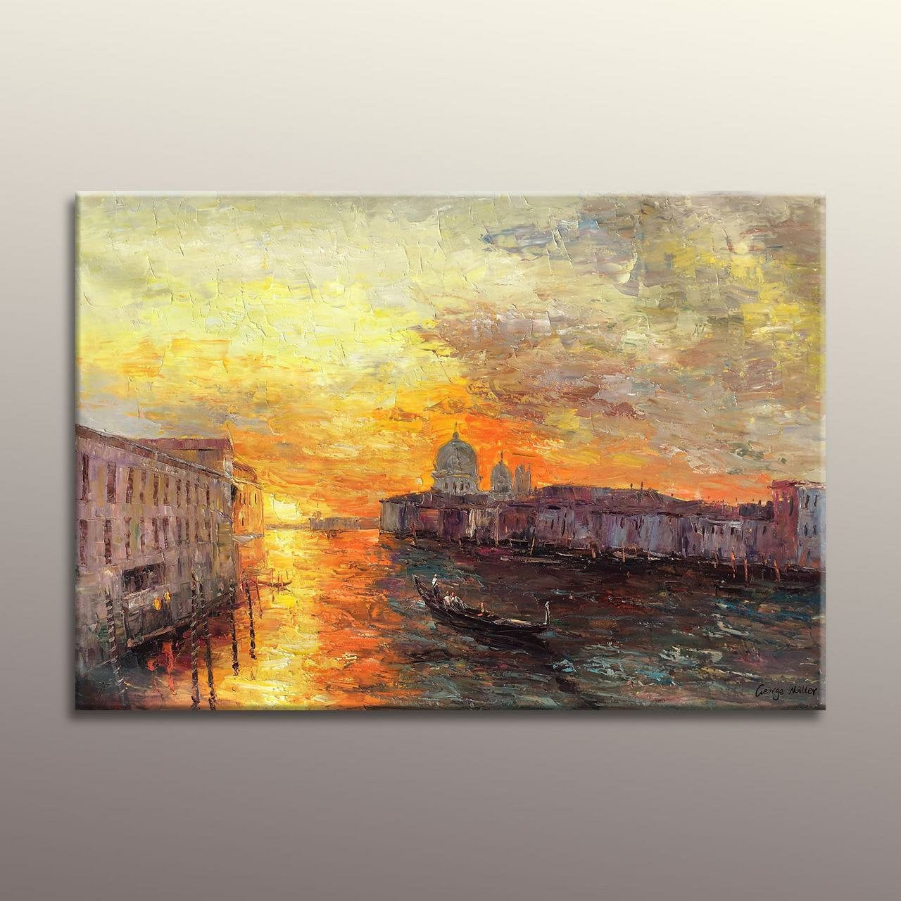 Oil Painting Venice Grand Canal Gondola Sunset, Original Painting, Kitchen Wall Decor, Family Wall Decor, Abstract Canvas Painting Large Art