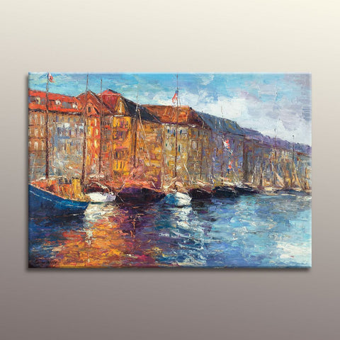 Oil Painting Venice Grand Canal Gondola, Living Room Wall Decor, Abstract Oil Painting, Canvas Wall Decor, Large Abstract Art, Vinice Art