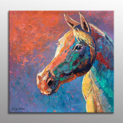 Horse Oil Painting, Large Wall Art Canvas, Horse Portrait, Bathroom Decor, Original Painting, Large Canvas Painting, Contemporary Art