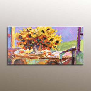 Canvas Painting, Sunflowers Flower Art, Original Abstract Painting, Abstract Wall Art, Contemporary Art, Bedroom Art, Large Abstract Art