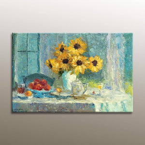 Abstract Oil Painting, Original Art, Canvas Painting, Floral Painting, Large Abstract Art, Modern Art, Wall Decor, Sunflower