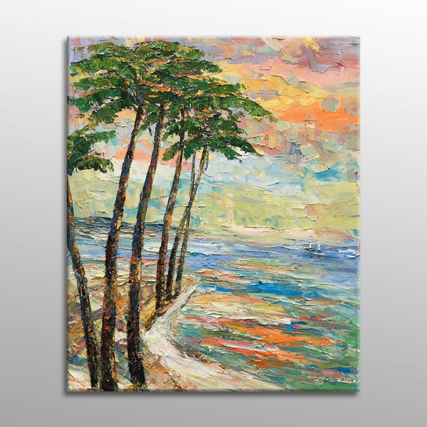 Oil Painting Seascape with Coconut Trees Sunset, Original Abstract Painting, Living Room Decor,Large Oil Painting, Abstract Oil Painting