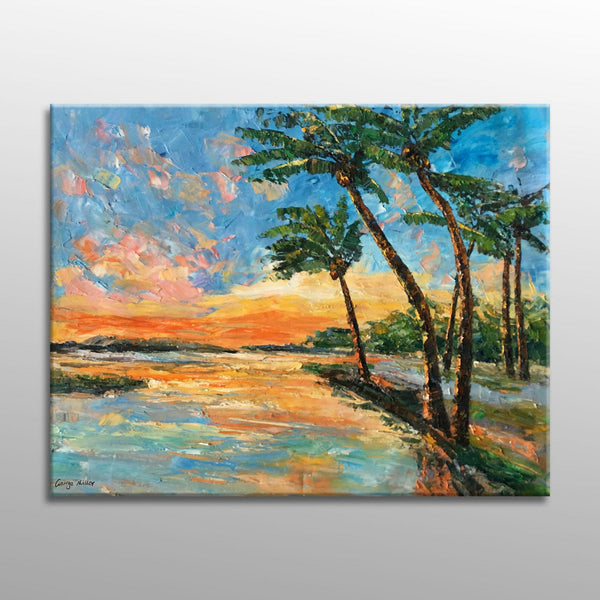 Oil Painting Seascape with Coconut Trees Sunset, Seascape Oil Painting, Modern Art, Kitchen Decor, Abstract Canvas Art, Large Painting