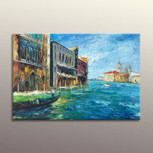 Oil Painting Venice Grand Canal Gondola Sunset, Canvas Painting, Original Landscape Painting, Large Oil Painting, Original Large Wall Decor