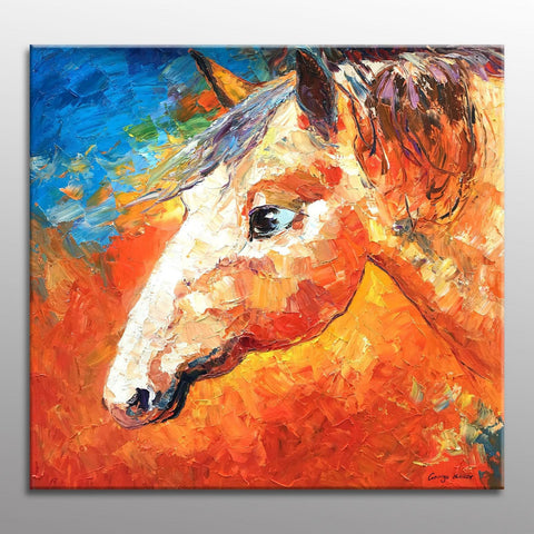 Oil Painting Horse, Contemporary Wall Art, Canvas Painting, Wall Decor, Modern Painting, Horse Wall Art, Original Art, Large Oil Painting