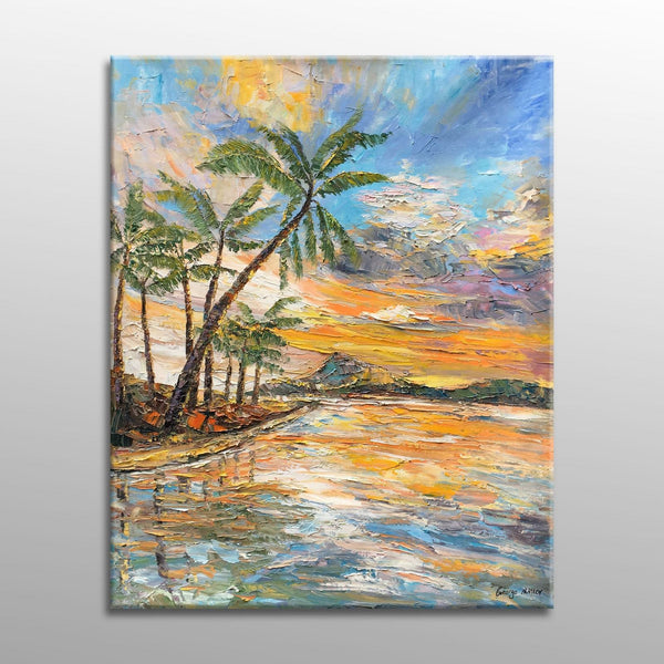 Oil Painting Seascape with Coconut Trees, Canvas Painting, Canvas Wall Decor, Living Room Wall Decor, Modern Art, Oil Painting Seascape