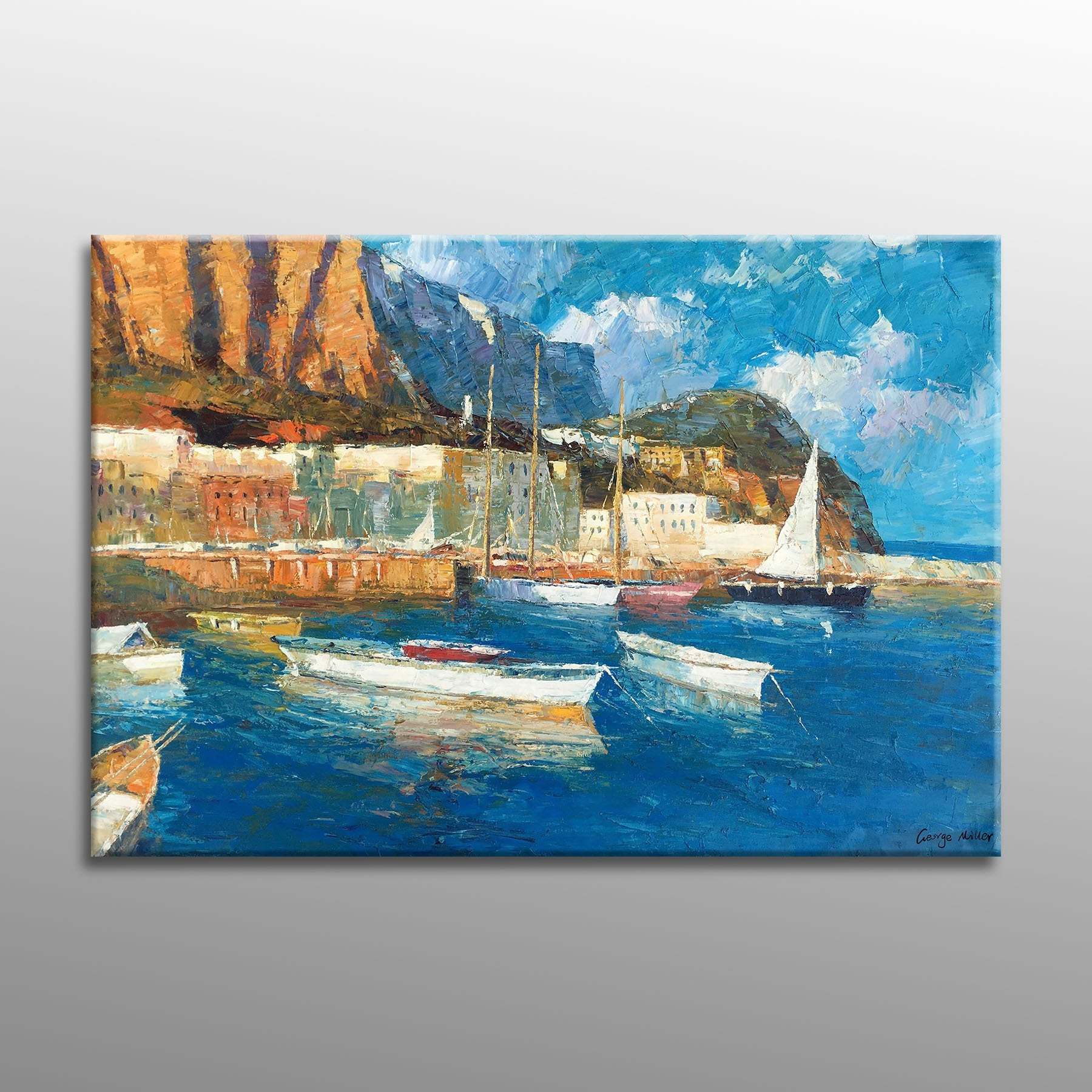 Oil Painting Seascape Habor Boats, Modern Art, Living Room Wall Decor, Abstract Canvas Art, Oil Painting Original, Seascape Painting