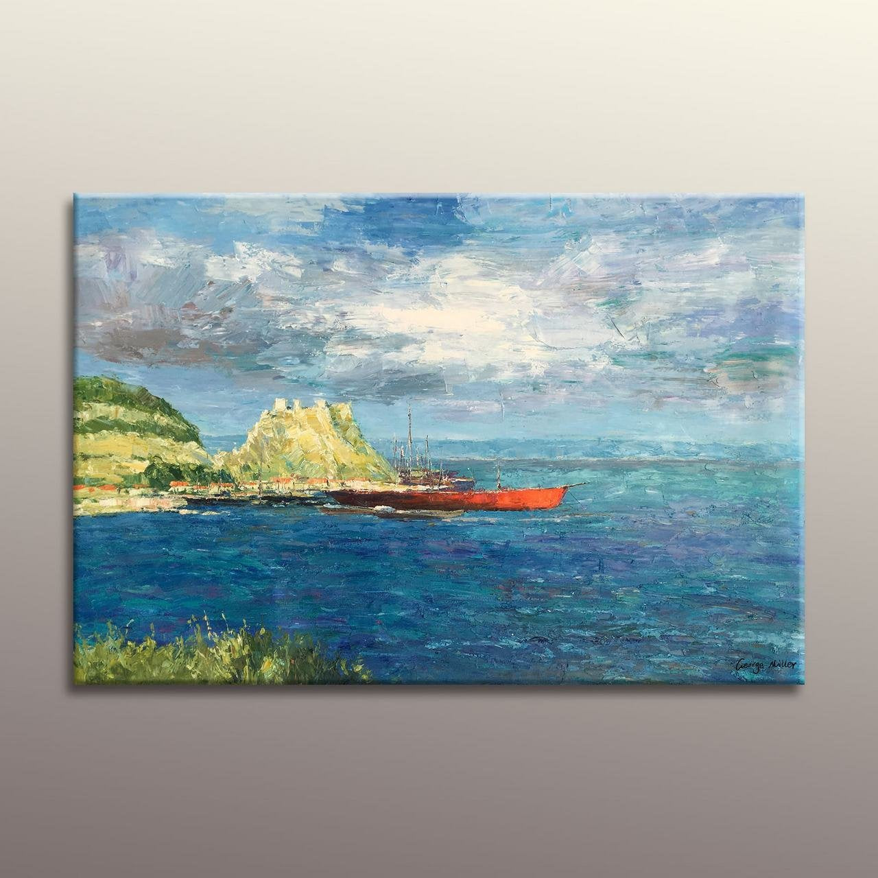 Oil Painting Seascape Habor Boats, Modern Art, Large  Wall Art, Original Abstract Art, Oil Painting Abstract, Large Abstract Painting