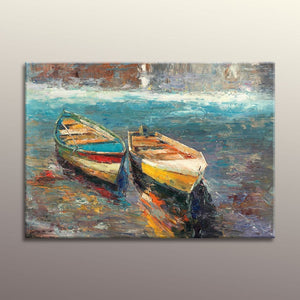 Oil Painting Seascape Habor Boats, Canvas Wall Decor, Kitchen Decor, Large Painting, Modern Art, Abstract Seascape Painting, Seascape Art