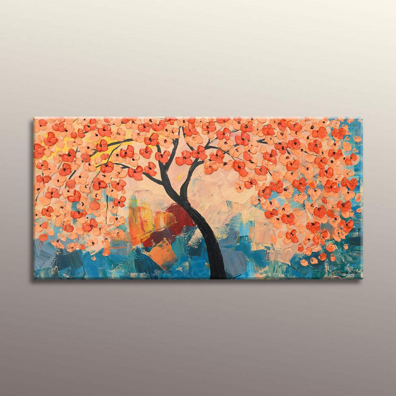 Oil Painting Abstract Art Large Canvas Art Modern Art Tree Art Canvas Wall Art Rustic Living Room Decor Original Art Floral Painting Tree