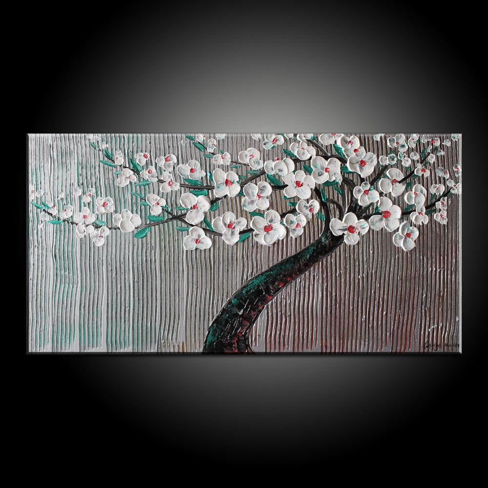 Oil Painting Tree Art Original Abstract Painting Floral Painting Contemporary Art Canvas Painting Living Room Art Large Wall Decor Framed