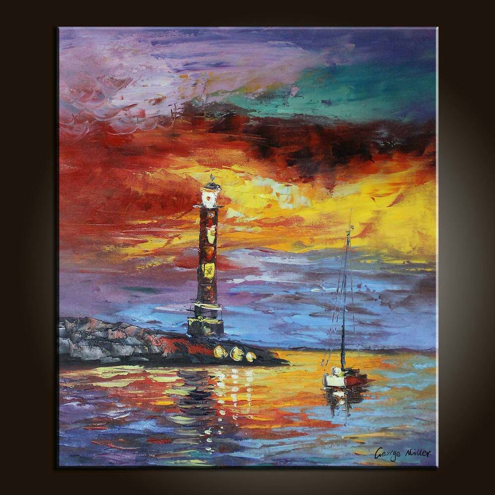 Oil Painting Original Artwork Seascape Sailing Boat and Lighthouse at Dawn Vivid Color Painted with Palette Knife Textured by George Miller