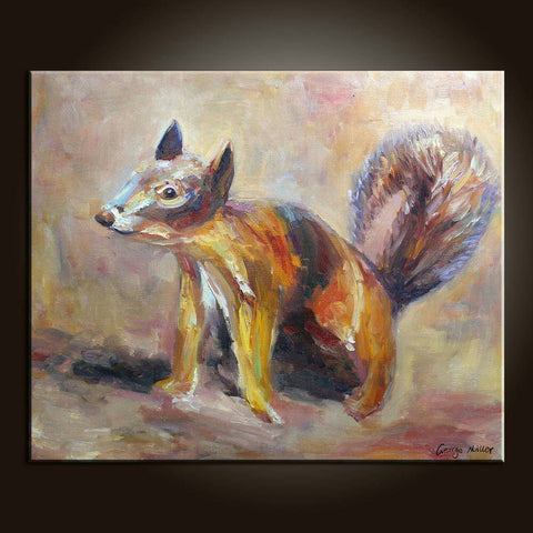 Original Oil Painting Abstract Painting Large Wall Decor Dog Painting Bedroom Art Modern Painting Abstract Canvas Painting Squirrel Framed