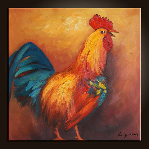 Original Oil Painting Bathroom Wall Decor Birds Rooster Contemporary Art Abstract Painting Abstract Canvas Painting Contemporary Wall Art