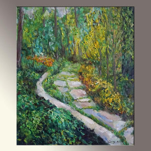 "Oil Painting Landscape, Spring Garden Painting,  Contemporary Art, Canvas Painting, Landscape Painting, Kitchen Wall Decor, 20x24""£¬ Green"