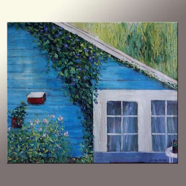 Oil Painting Landscape, Garden Painting, Canvas Wall Decor, Bedroom Decor, Impressionist Canvas Art, Original Art, 20x24 Inches, Blue House
